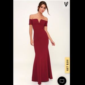 Red Off-the Shoulder Maxi Dress